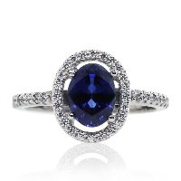 Microset Bordered Oval in Sapphire