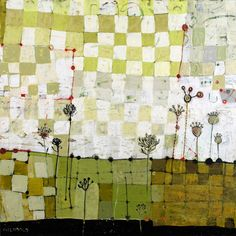 dyer's garden, ~ mixed media on birch ~ barbara gilhooly Mix Media, Mixed Media Art, Collages, Collage Art, Guache, Arte Floral, Oeuvre D'art, Painting Inspiration, Textile Art
