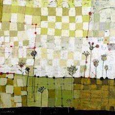 "Dyer's Garden, 16"" x 16"", mixed media on birch, (c) 2013 Barbara Gilhooly"
