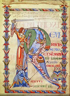 Illumination in a 12th century manuscript of a letter of Gregory's to Saint Leander, bishop of Seville (Bibl. Municipale, MS 2, Dijon).