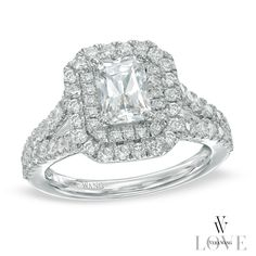 Vera Wang LOVE Collection 2 CT. T.W. Emerald-Cut Diamond Double Frame Engagement Ring in 14K White Gold - View All Rings - Zales