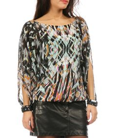 Look what I found on #zulily! Black & Green Watercolor Silk Cutout Top by orna farho #zulilyfinds $113 yeah - girly and rock n roll.