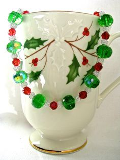 Festive Holiday Red and Green Crystal Choker Necklace with Coiled Silver Wire - pinned by pin4etsy.com