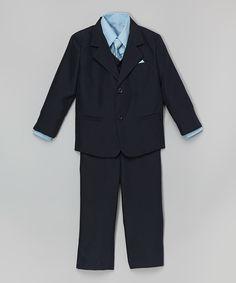 Navy & Light Blue Five-Piece Suit - Infant Toddler & Boys