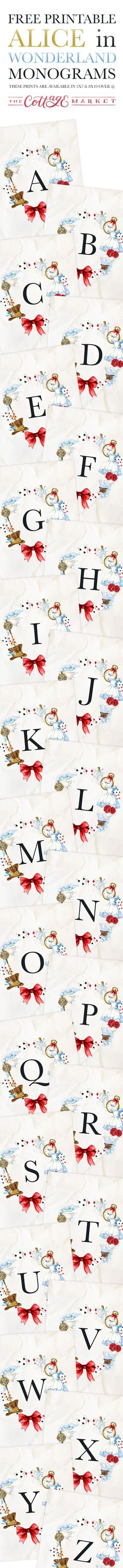 Hello everyone!  It's FRIDAY and that means one thing here at The Cottage Market…it's FREE PRINTABLE Day!!!  Attention Alice In Wonderland Lovers …We have a brand new Free Printable Alice In Wonderland Monograms for you today that will add some Whimsical Fun to your home!!!  Free Printable Alice in Wonderland Monograms plus Numbers and Punctuation so you …