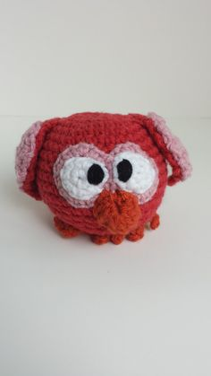 Crocheted Stuffed Owlet Red Pink by MegsMinions on Etsy, $8.00