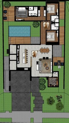 Modern House Floor Plans, Pool House Plans, Sims House Plans, Courtyard House Plans, House Layout Plans, Dream House Plans, House Layouts, Home Building Design, Home Garden Design