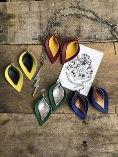 Harry Potter | Katie Magical Collection Double Layered Leather Leaf Shaped | Leather Leaf, Soft Leather, Leather Earrings, Leather Jewelry, Yellow Flats, Harry Potter Jewelry, Blue And Copper, Leaf Shapes, Leaf Earrings