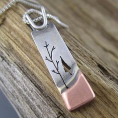 Handmade Mixed Metal Pendant - Blended Forest