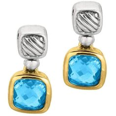 Phillip Gavriel - 18K Yellow Gold & Sterling Silver Oxidized Blue... (470 AUD) ❤ liked on Polyvore featuring jewelry, earrings, gold jewellery, yellow gold drop earrings, sterling silver blue topaz earrings, blue topaz earrings and drop earrings