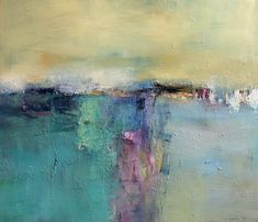 "Hiroshi Matsumoto, title unknown [abstract, of sea/ landscape], Oil on canvas. ""Not a lover of the abstract school, but I do love the palette and composition here."""