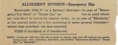 Back of emergency streetcar transfer from Philadelphia (Pennsylvania) Transportation Company (altered version of Philadelphia Rapid Transit Company transfer) (date unknown)