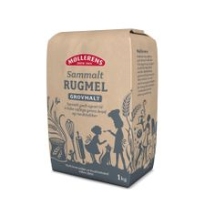 Møllerens Sammalt Rugmel Grovmalt flour packaging emballasje GRID design Kate Forrester