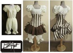 Brown and Cream Stripe Corset, Puff Sleeve Top, Mini Skirt, Bloomers and Add-A-Bustle