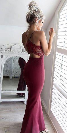 elegant burgundy spaghetti strap prom dress, bodycon mermaid burgundy party dress with lace