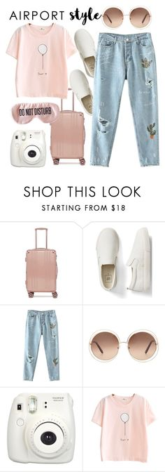 """Airport Style"" by mimas-style ❤ liked on Polyvore featuring CalPak, Gap, Chloé, Fujifilm and BaubleBar"