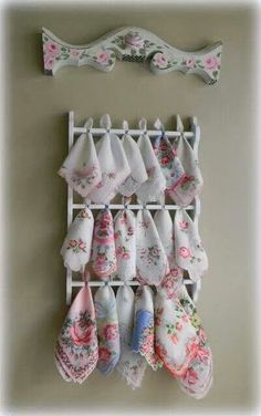 Sweet! Vintage spoon rack to vintage hankie rack, via shabby prim delights Michele