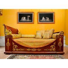 French Empire gilt bronze bed 45 in; width 74 in; depth 52 in Decor, Furniture, Neoclassical Furniture, Interior, Dream Furniture, Universal Furniture, Bedroom Furniture, Vintage Furniture, Furniture Design