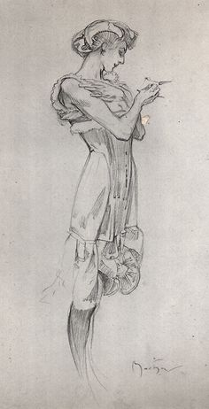 Alphonse Mucha, Study for a corset poster
