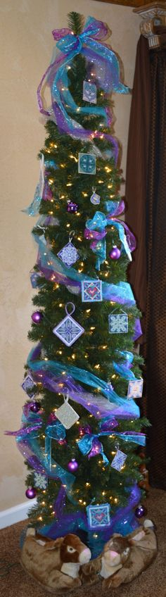 Many of the Celtic Designs from Frony Ritter are in blues, purples and greens.  Here is a tree that features them.
