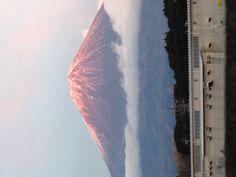 """Aka Fuji"" , Mt Fuji appears red because of sunset"