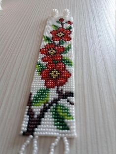 Beautiful gift loom beaded bracelet red flowers Toho seed