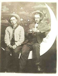 Two buddies on a paper moon