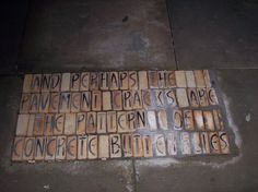 Northern Quarter pavement poetry