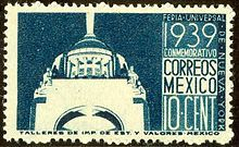 Mexico. Mexico issued some airmail stamps in the mid-1930s with lettering in a distinct Art Deco style.[12] Mexico 1939 In 1939, Mexico issued a stamp with a boldly Art Deco image of the Arch of the Revolution, to commemorate the New York World's Fair.