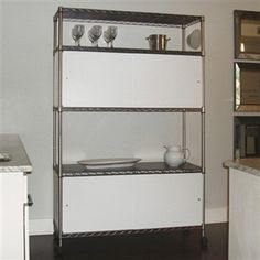 Enclosure sliding door for wire shelving in beige, black, blue, grey, red and white