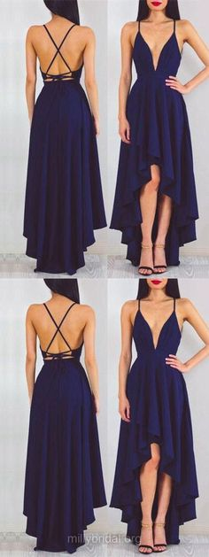 Blue Prom Dresses High Low, 2018 Prom Dresses For Teens Cheap, Backless Prom Dresses Casual , A-line Formal Party Dresses V-neck, Chiffon Evening Pageant Dresses Asymmetrical Ruffles #partydress #dressesforteens