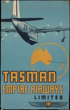 Tasman Empire Airways was a forerunner of Air New Zealand, and operated from 1940 to This poster shows the flying boat 'Aotearoa', and the elegant logo of the airline at lower right. Poster Ads, Advertising Poster, Vintage Advertisements, Vintage Ads, Retro Airline, Airline Travel, Posters Australia, Australian Vintage, Air New Zealand