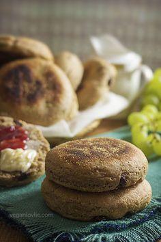 Spelt English Muffin Recipe with Cinnamon and Raisin made on the stove top, no oven needed – Vegan Recipe   Watch the video - https://youtu.be/HwFuUm9eUU4   veganlovlie.com