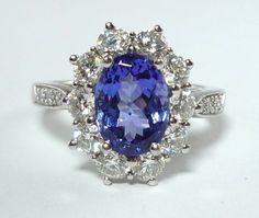 Tiffany & Co. Tanzanite Diamond Platinum Engagement Ring image 2