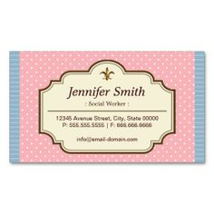 143 best social worker business cards images on pinterest business social worker cute polka dots business card colourmoves