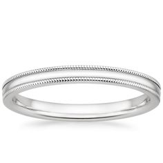 Wedding Bands White Gold Milgrain Wedding Ring from Brilliant Earth - This classic wedding band features fine milgrain detailing along the edges for a refined finish. Pretty Wedding Rings, Classic Wedding Rings, Platinum Wedding Rings, White Gold Wedding Bands, Purple Wedding, Gold Bands, Dream Wedding, Womens Wedding Bands, Wedding Rings For Women