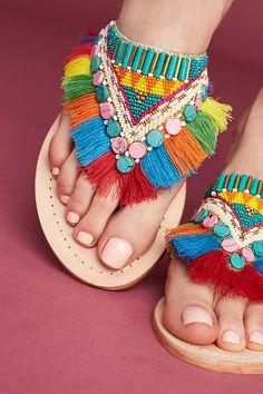 Slide View: 4: Manebi Rainbow Fringe Thong Sandals Bohemian Accessories, Sock Shoes, Summer Shoes, Bohemian Style, Crochet Necklace, Espadrilles, Footwear, Rainbow, Sandals