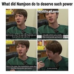 Namjoon's cooking stories are just incredible. Amen.