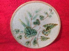 Antique German Majolica Leaves & Basketweave Plate c1800's, gm631 #ArtNouveau