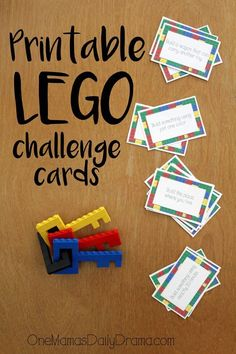 Print this LEGO challenge card game for a simple stocking stuffer for kids of all ages. Includes 16 activity cards for hours of fun. Lego Ninjago, Lego Duplo, Stem Activities, Activities For Kids, Babysitting Activities, Therapy Activities, Legos, Lego Therapy, Pep Rally