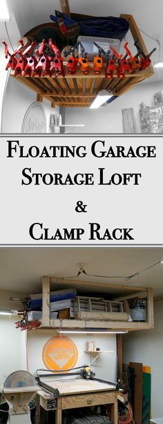This floating storage & clamp rack is perfect when you run out of space in your workshop, and need to add storage to your ceiling! #woodworking #pipeclamp #storage #organization