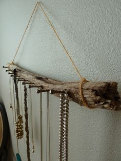 Driftwood jewelry hanger.