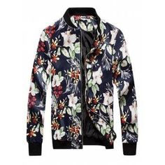 #Valentines #AdoreWe #DressLily - #Dresslily Floral Print PU Leather Jacket - AdoreWe.com