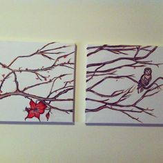 Today's creation.. Branches and owl painting for my living room.
