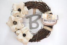 "Wedding or Anniversary ""Happily Ever After"" rustic burlap Modern interchangeable wreath with chevron hanging monogram, door or wall hanging"