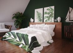 A nice idea for how to style a loft conversion, using a dark green feature wall and wooden flooring Home Bedroom, Wall Decor Bedroom, Feature Wall Bedroom, Bedroom Interior, Wooden Bedroom, Loft Room, Green Bedroom Walls, Bedroom Wooden Floor, Tropical Bedrooms