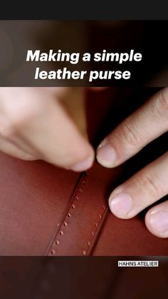 Leather Bag Tutorial, Leather Wallet Pattern, Handmade Leather Wallet, Diy Leather Projects, Leather Diy Crafts, Leather Craft, Diy Bags Tutorial, Handbag Tutorial, Leather Tooling
