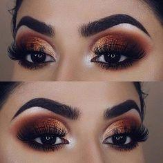 Bronze Eye Makeup Idea Eye make up 23 Stunning Prom Makeup Ideas to Enhance Your Beauty Bronze Eye Makeup, Natural Eye Makeup, Eye Makeup Tips, Smokey Eye Makeup, Makeup Tools, Eyeshadow Makeup, Makeup Brushes, Makeup Ideas, Makeup Geek