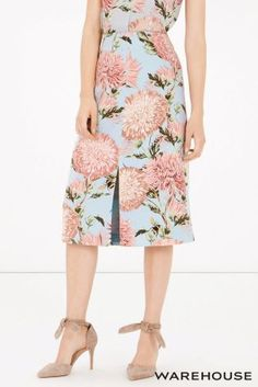 Buy Warehouse Pom Pom Floral Print Skirt from the Next UK online shop