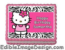 HOT PINK ZEBRA PRINT HELLO KITTY Edible Birthday Cake Party Image Topper Custom